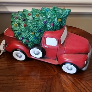 Red pickup Truck with light up Christmas Tree